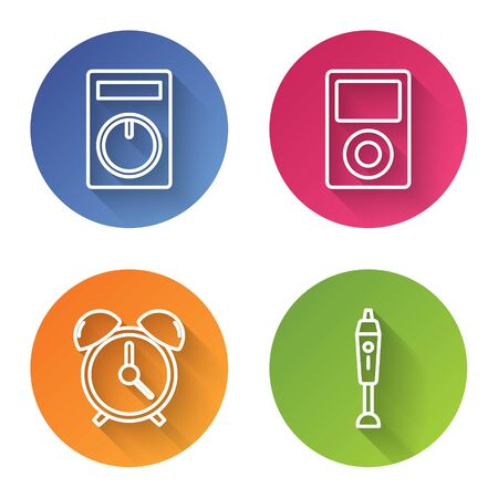 Set line Remote control, Music player , Alarm clock and Blender . Color circle button. Vector