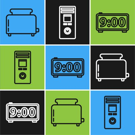 Set line Toaster with toasts , Digital alarm clock and Remote control icon. Vector