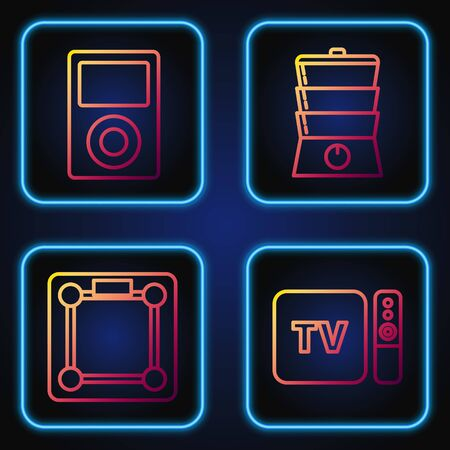Set line TV box receiver and player with remote controller , Bathroom scales , Music player and Double boiler . Gradient color icons. Vector