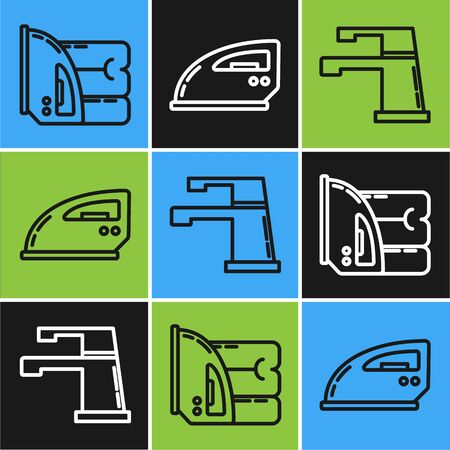 Set line Electric iron and towel , Water tap and Electric iron icon. Vector