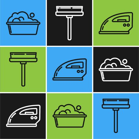 Set line Plastic basin with soap suds , Electric iron and Squeegee, scraper, wiper icon. Vector Illustration