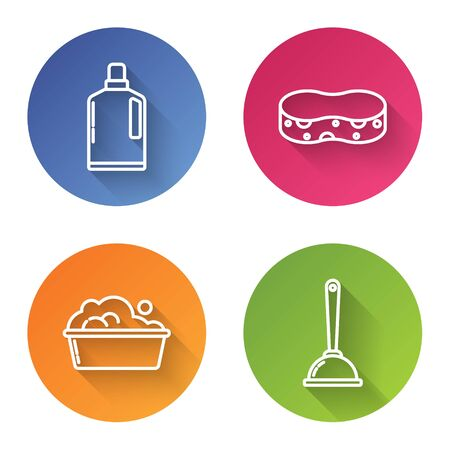 Set line Plastic bottles for liquid dishwashing liquid, Sponge , Plastic basin with soap suds and Toilet plunger. Color circle button. Vector