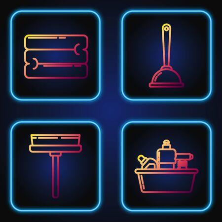 Set line Plastic bottles for liquid dishwashing liquid, Squeegee, scraper, wiper, Towel stack and Toilet plunger. Gradient color icons. Vector