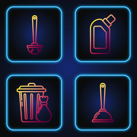 Set line Toilet plunger, Trash can and garbage bag , Toilet brush and Plastic bottles for liquid dishwashing liquid. Gradient color icons. Vector Vetores