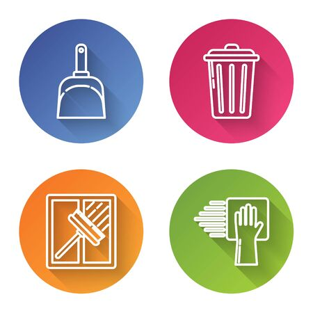 Set line Dustpan , Trash can , Squeegee, scraper, wiper and Cleaning service . Color circle button. Vector