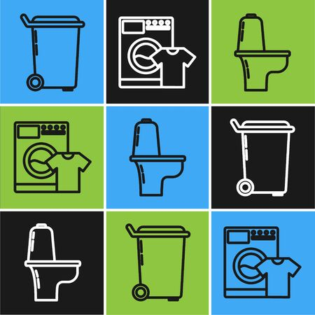 Set line Trash can , Toilet bowl and Washer and t-shirt icon. Vector