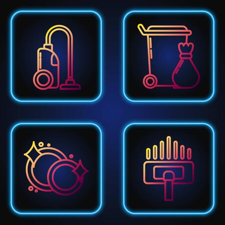 Set line Vacuum cleaner, Washing dishes , Vacuum cleaner and Trash can . Gradient color icons. Vector