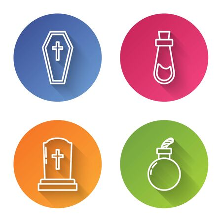 Set line Coffin with christian cross , Bottle with potion , Tombstone with cross and Bomb ready to explode . Color circle button. Vector Illustration