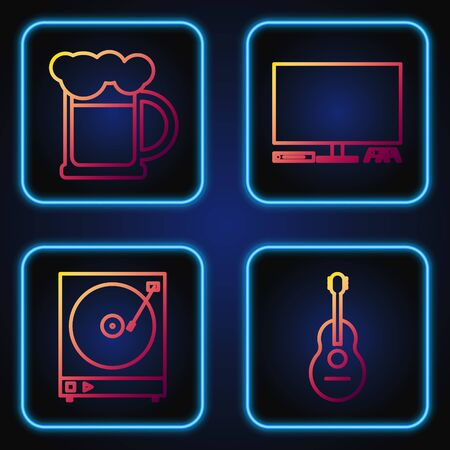 Set line Guitar , Vinyl player with a vinyl disk , Wooden beer mug and Video game console . Gradient color icons. Vector