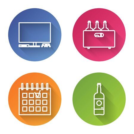 Set line Video game console , Bottles of wine in a wooden box , Detailed calendar and Beer bottle . Color circle button. Vector