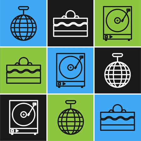 Set line Disco ball , Vinyl player with a vinyl disk and Cake icon. Vector
