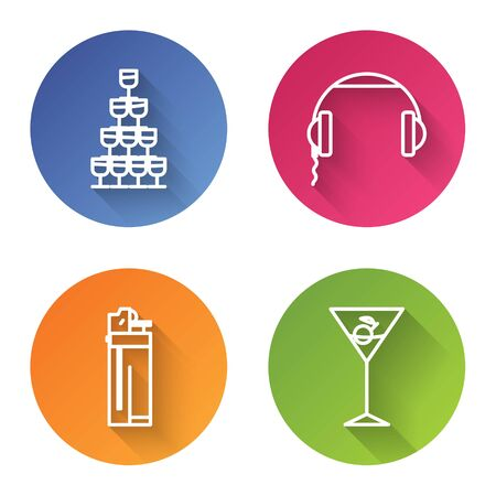 Set line Wine glasses stacked in a pyramid tower , Headphones , Lighter and Martini glass . Color circle button. Vector