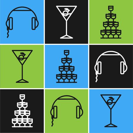 Set line Headphones , Wine glasses stacked in a pyramid tower and Martini glass icon. Vector