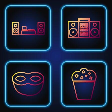 Set Line Popcorn im Karton , Festliche Maske , Heimstereo mit zwei Lautsprechern und Heimstereo mit zwei Lautsprechern . Farbverlaufssymbole. Vektor Vektorgrafik