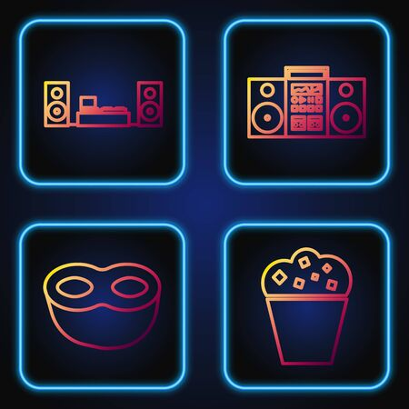 Set line Popcorn in cardboard box , Festive mask , Home stereo with two speakers and Home stereo with two speakers . Gradient color icons. Vector
