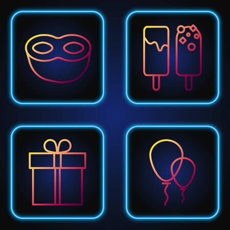 Set line Balloons with ribbon , Gift box , Festive mask and Ice cream . Gradient color icons. Vector Ilustração