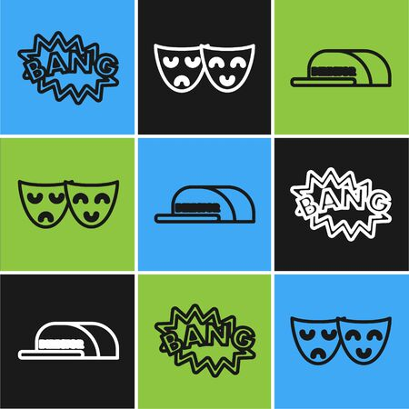 Set line Bang boom text speech bubble balloon , Cap with inscription director and Comedy and tragedy theatrical masks icon. Vector