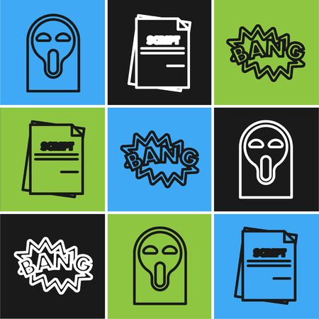 Set line Funny and scary ghost mask, Bang boom text speech bubble balloon and Scenario icon. Vector