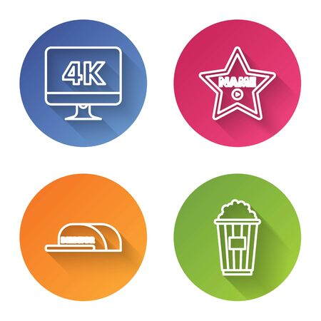 Set line Computer PC monitor with 4k video technology , Hollywood walk of fame star on celebrity boulevard , Cap with inscription director and Popcorn in cardboard box . Color circle button. Vector  イラスト・ベクター素材
