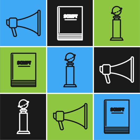 Set line Megaphone , Trophy Golden Globe and Scenario icon. Vector Çizim