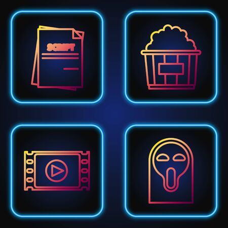 Set line Funny and scary ghost mask, Play Video , Scenario and Popcorn in cardboard box . Gradient color icons. Vector