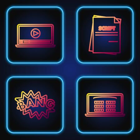 Set line Buy cinema ticket online , Bang boom text speech bubble balloon , Online play video and Scenario . Gradient color icons. Vector