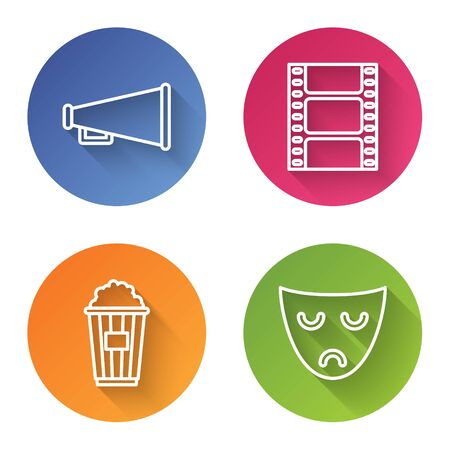 Set line Megaphone , Play Video , Popcorn in cardboard box and Drama theatrical mask . Color circle button. Vector