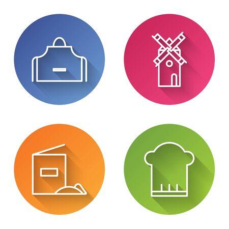 Línea Set Delantal de cocina, Molino de viento, Pack de harina y Gorro de cocinero. Botón de círculo de color. Vector