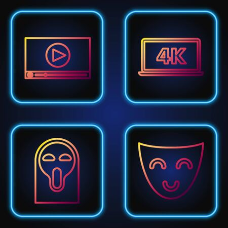 Set line Comedy theatrical mask , Funny and scary ghost mask, Online play video and Laptop screen with 4k video technology . Gradient color icons. Vector