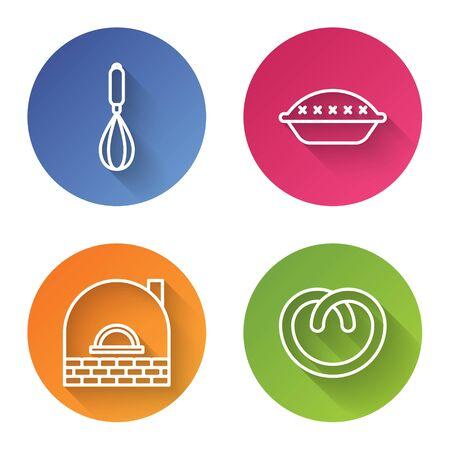 Set line Kitchen whisk , Homemade pie , Brick stove and Pretzel . Color circle button. Vector