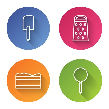 Set line Spatula , Grater , Brownie chocolate cake and Frying pan . Color circle button. Vector