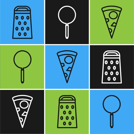 Set line Grater , Slice of pizza and Frying pan icon. Vector
