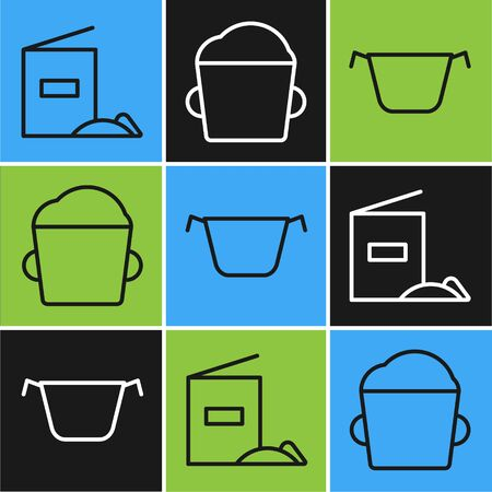 Set line Flour pack , Cooking pot and Bakery bowl dough icon. Vector