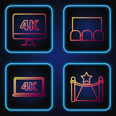 Set line Carpet with barriers and star , Laptop screen with 4k video technology , Computer PC monitor with 4k video technology and Cinema auditorium with screen and seats . Gradient color icon. Vector