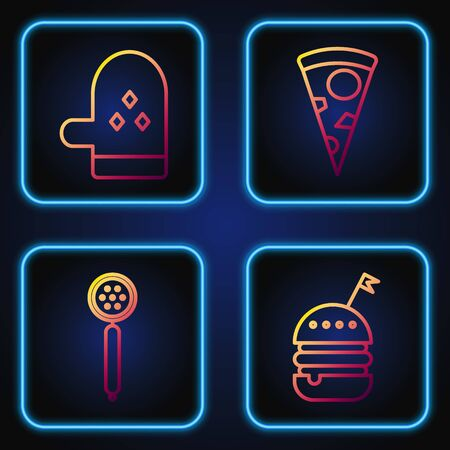 Set line Burger , Strainer spoon , Oven glove and Slice of pizza . Gradient color icons. Vector
