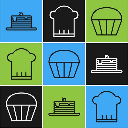 Set line Stack of pancakes , Muffin and Chef hat icon. Vector