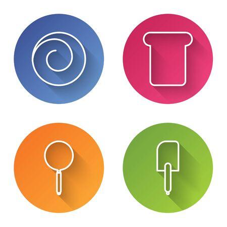 Set line Roll bun with cinnamon , Bread toast, Frying pan and Spatula . Color circle button. Vector Ilustração