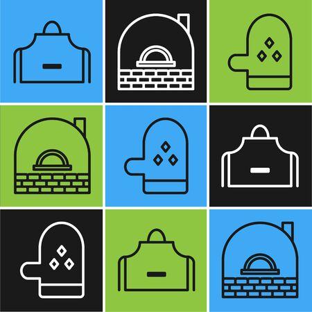 Set line Kitchen apron , Oven glove and Brick stove icon. Vector Ilustração