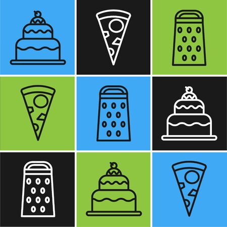 Set line Cake , Grater and Slice of pizza icon. Vector