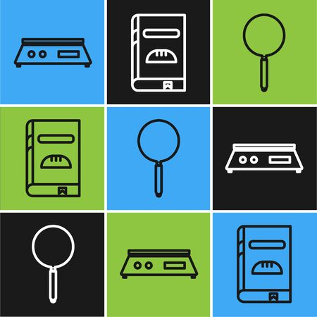 Set line Electronic scales , Frying pan and Cookbook icon. Vector