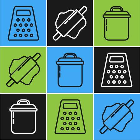 Set line Grater , Cooking pot and Rolling pin icon. Vector