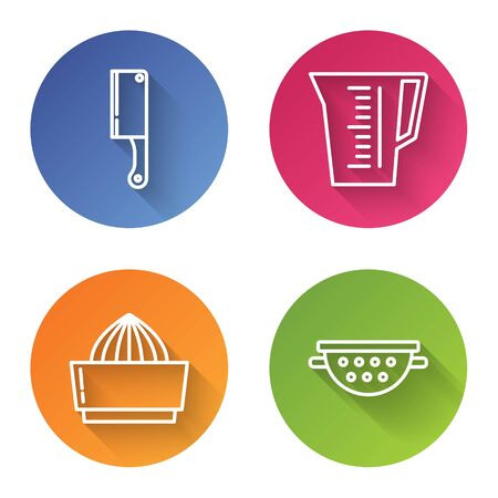 Set line Meat chopper , Measuring cup, Citrus fruit juicer and Kitchen colander . Color circle button. Vector