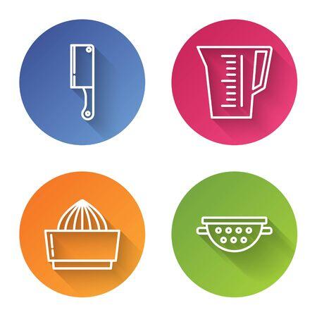 Set line Meat chopper , Measuring cup, Citrus fruit juicer and Kitchen colander . Color circle button. Vector