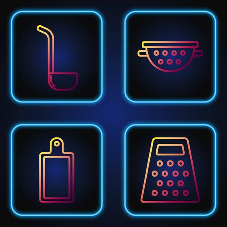 Set line Grater , Cutting board , Kitchen ladle and Kitchen colander . Gradient color icons. Vector