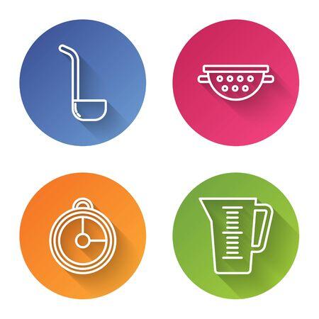 Set line Kitchen ladle , Kitchen colander , Kitchen timer and Measuring cup. Color circle button. Vector Illustration