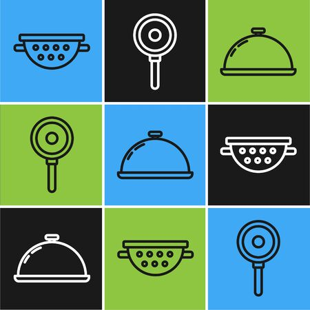 Set line Kitchen colander , Covered with a tray of food and Frying pan icon. Vector