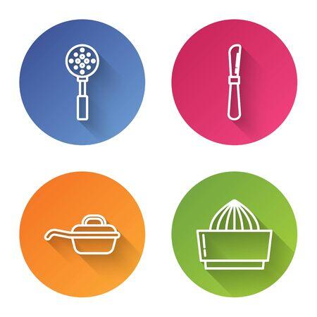 Set line Spatula , Knife , Frying pan and Citrus fruit juicer . Color circle button. Vector