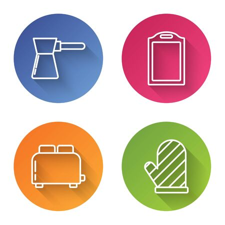 Set line Coffee turk , Cutting board , Toaster with toasts and Oven glove . Color circle button. Vector