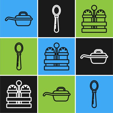 Set line Frying pan , Salt and pepper and Spoon icon. Vector Ilustração