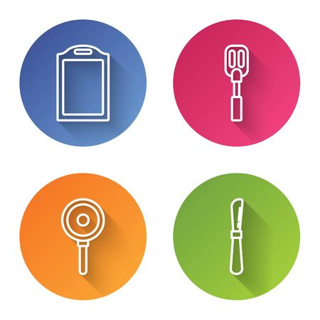 Set line Cutting board , Spatula , Frying pan and Knife . Color circle button. Vector Ilustração